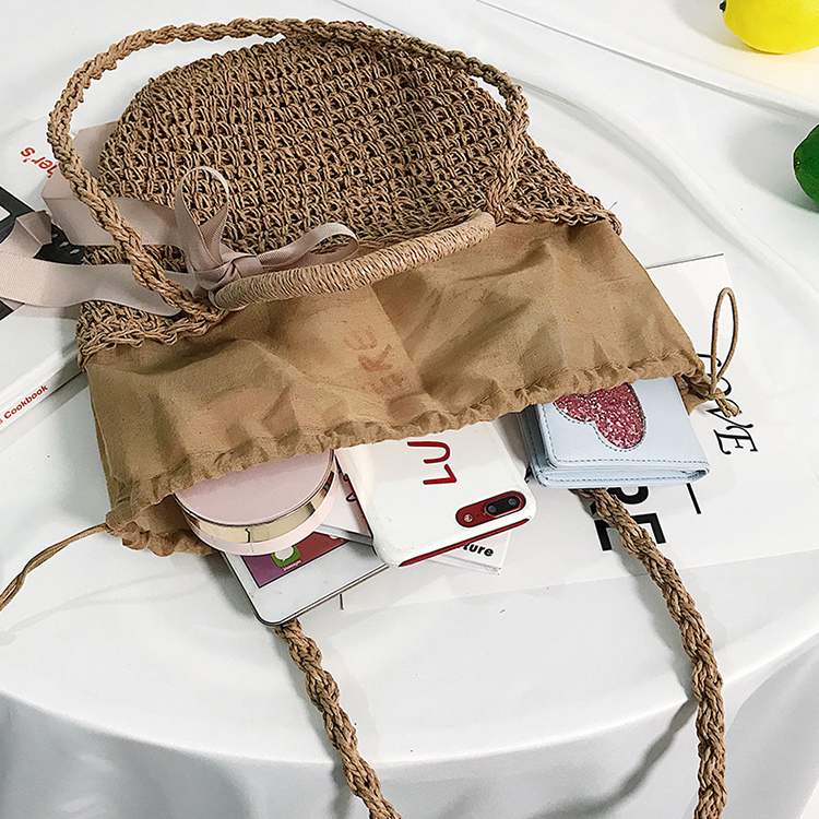 Large bucket bag scarf handbag shoulder bag simple straw tote bag