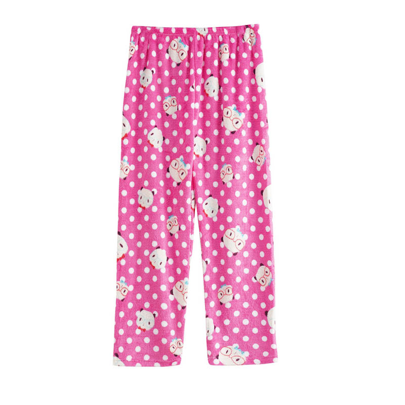 Coral fleece pants for sleepwear girls' printed pajamas