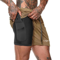 Private Label Slim Fit Compression Shorts With Pocket,Gym Wear Shorts Men Running Shorts For Men