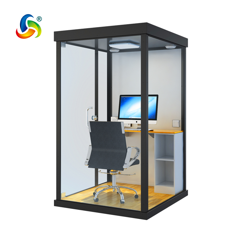 Mini Insulation booth 131*121*215 room for webcasting music meeting with Tempered Glass Material movable sound insulation