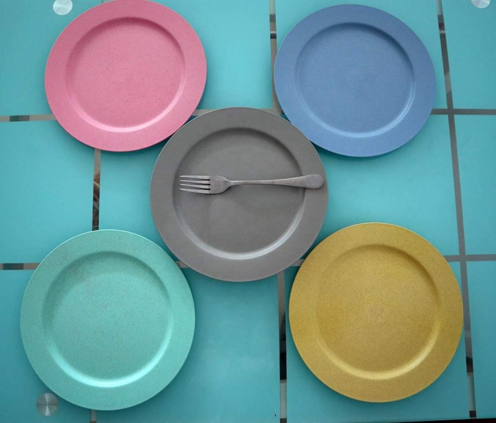 Best selling wholesale cheap wheat straw plastic plates 10 inch round dinner plate sets