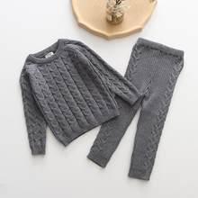 Одежда для маленьких девочек, комплекты одежды для мальчиков, осенне-зимний свитер + штаны, комплект из 2 предметов, трикотажные спортивные к...(Китай)