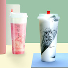 Factory Price Low MOQ Clear Plastic Bubble Tea Cup Juice Cup with Lid