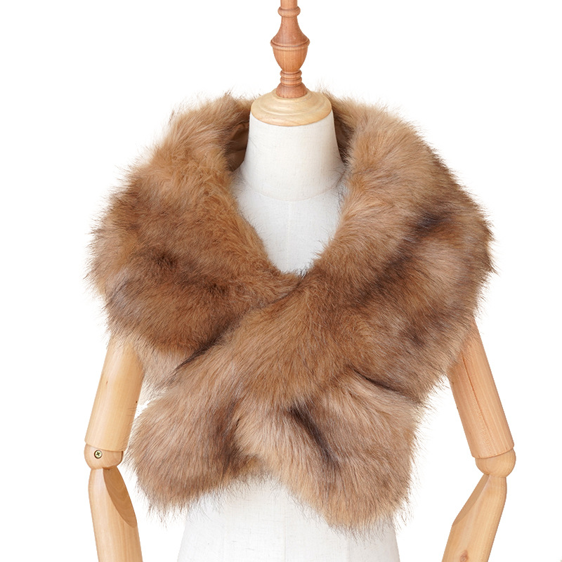 2020 Hot Sale Women Cozy Luxurious Large Warm Winter <strong>Faux</strong> Fur Scarf <strong>Wrap</strong> Collar Shrug for Lady Poncho Wedding Dinner Party