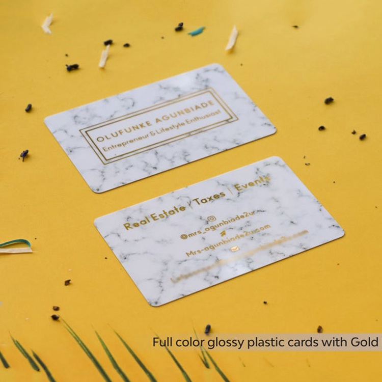 Frosted Dull Colored Printing Double Sided Luxury Marble Texture Gold Business Card