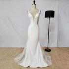 Customized simple style satin embroidery bridal gowns long train white wedding dresses