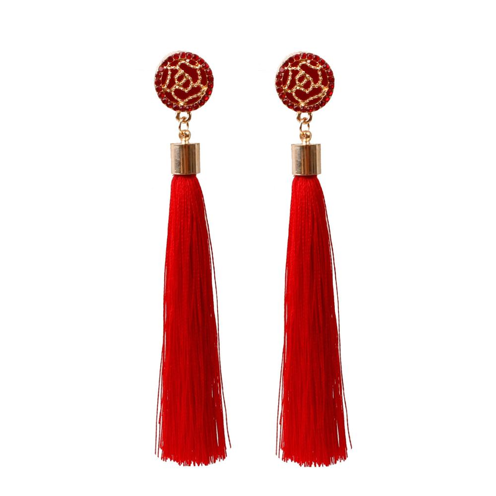 Fashion Colorful <strong>rose</strong> <strong>flower</strong> Silk Tassel <strong>Earrings</strong> For Women Wholesale N99046