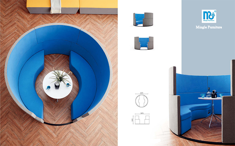 Round office booth/rectangular cafe booth seating/Customized fabric office meeting booth