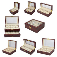 Elegant wood red painting large capacity display window 12 slots luxury watch box wooden packaging storage case for watch