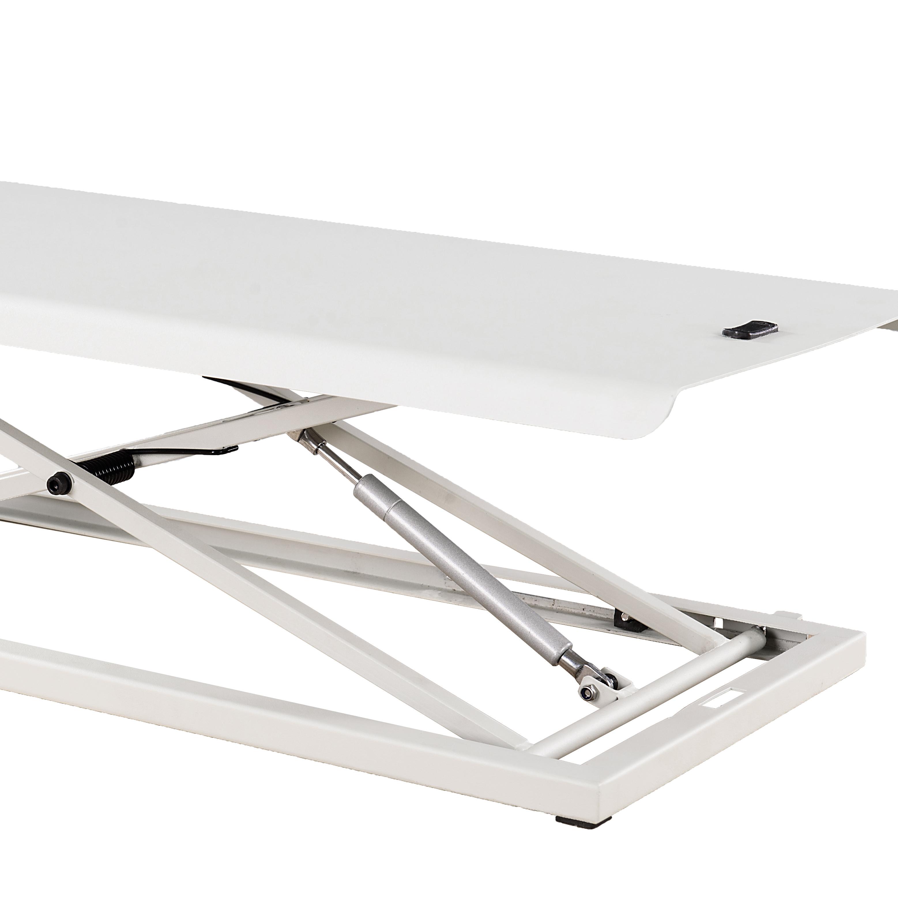 Soporte para sentarse, puesto de trabajo de escritorio, altura ajustable, plegable, blanco, escritorio de elevación de Gas
