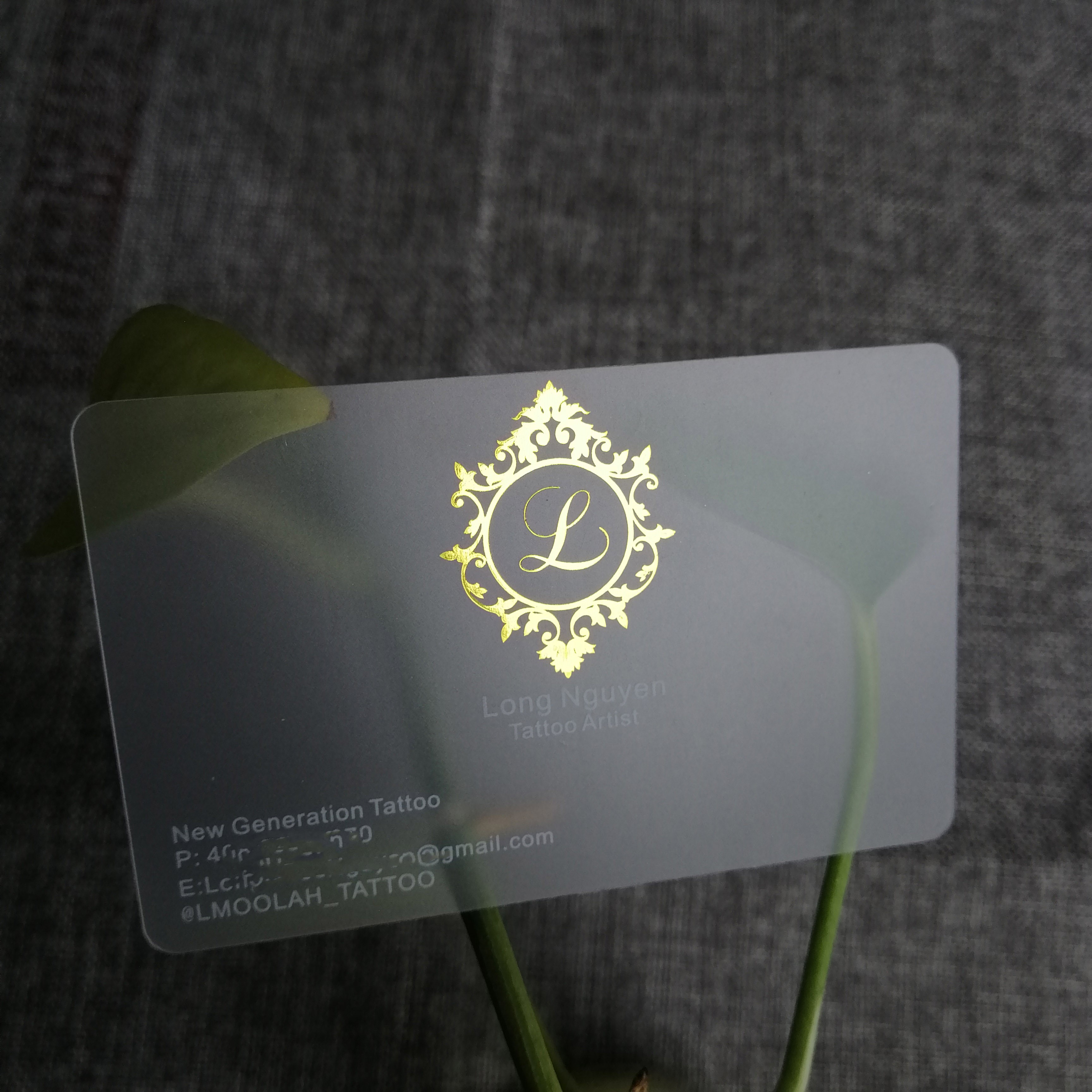 Customized printing PVC clear transparent visiting business card