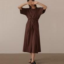 Женское длинное платье EAM, желтое платье с узлом на талии, круглый ворот, короткий рукав, свободный крой, весна-лето 2020 1W801(Китай)