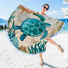 Beach Towel With Beach Custom Printed Microfiber Round Beach Towel With Drawstring Backpack