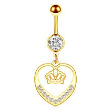 Кольцо для пупка в виде Золотого сердца, хирургическая сталь, 1/2 шт.(Китай)