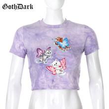 Goth Dark E-girl, милые летние футболки с принтом кота, короткий рукав, круглый вырез, облегающий укороченный топ, футболки, фиолетовый галстук, кра...(China)