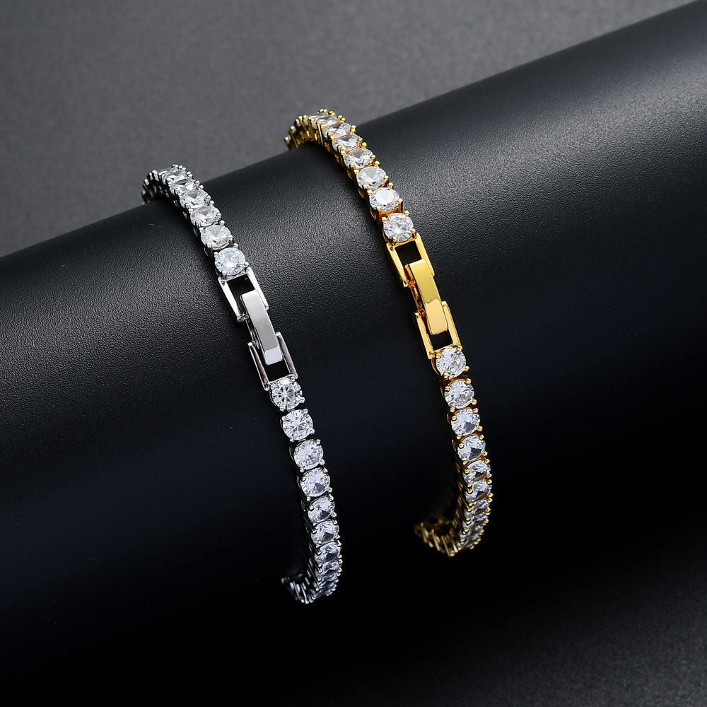 New clasp 3mm 4mm 5mm Brass Zircon <strong>Tennis</strong> <strong>Bracelet</strong> Hip hop Jewelry Gold Silver Men <strong>CZ</strong> <strong>Bracelet</strong> Iced Out B030