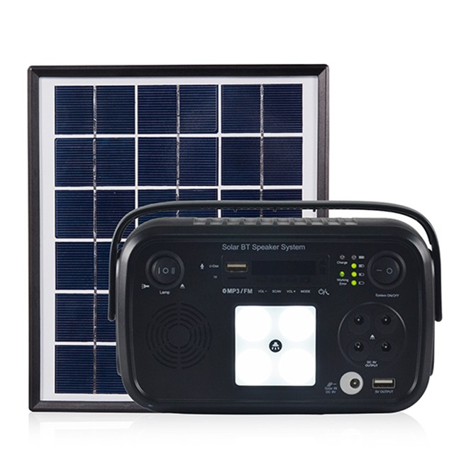 Portable Off Grid DC Solar Bluetooth Lighting Speaker System With Lithium Battery For Home Appliances