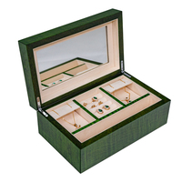 Custom Logo Luxury Wooden green alligator Jewelry Collection Box With Drawer