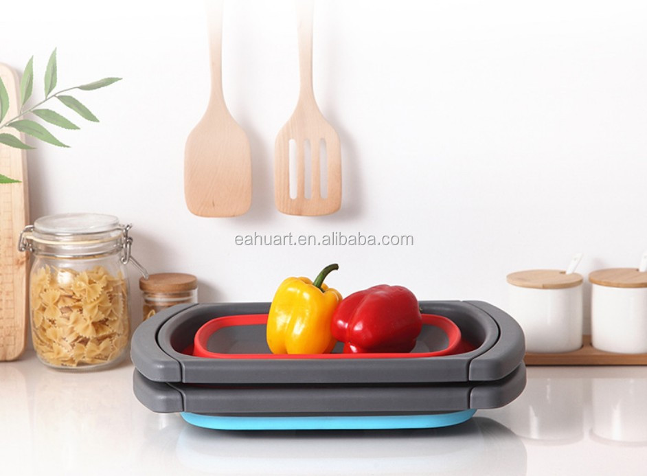 Best selling kitchen gadgets Kitchen cleaning basket wash drain basket Silicone Bowl for Custom