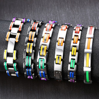 FG00111 Silicone Stainless Steel Bracelet Men Bangle Real Rainbow Color 316L Stainless Steel Clasp Bracelet For Men Women Unisex