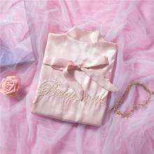 Халат-кимоно с вышивкой для невесты и подружки невесты, пикантный атласный элегантный Пижамный костюм из вискозы, домашний халат, размер дл...(Китай)