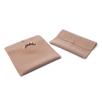BV059L Beige Double sides velvet Snap closure gift jewellery envelope pouch