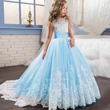 Платья для девочек на свадьбу, пышные платья, детское платье для выпускного вечера, платья для Святого Причастия для девочек, кружевные жемч...(China)