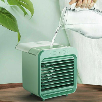 Mini air conditioner cooling desktop cooling spray USB charging small fan room office air cooler
