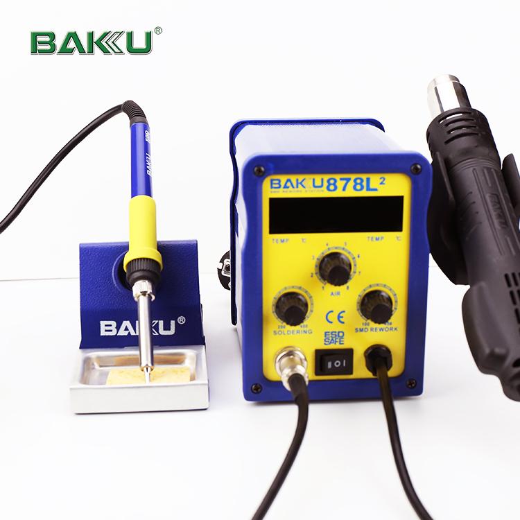 बाकू BK-878L2 12 W गर्म बिक्री गर्म हवा bga rework स्टेशन के साथ 12 V टांका लोहे स्टेशन