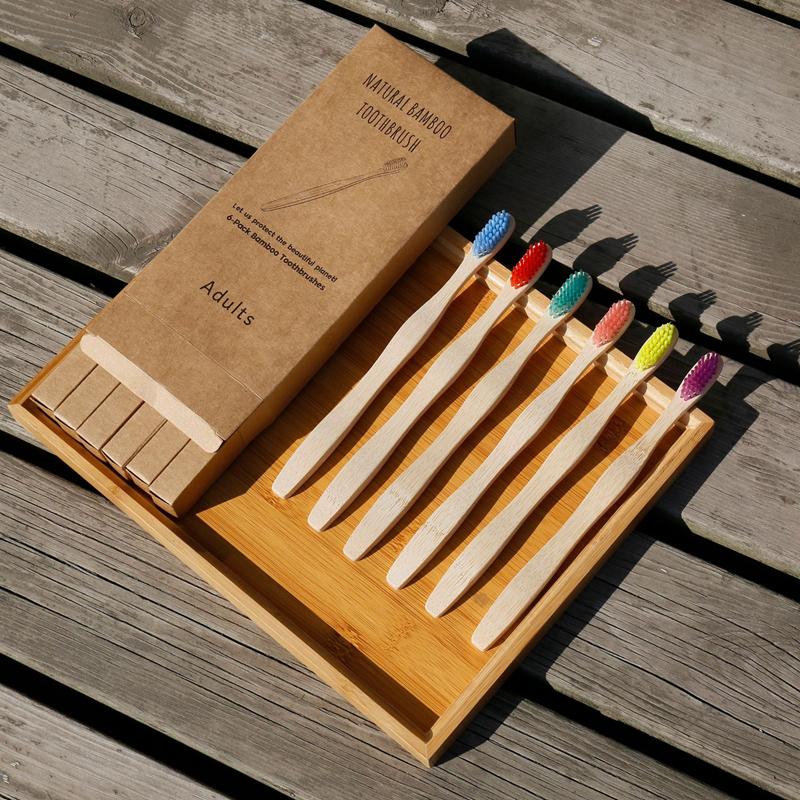 Cepillo De Dientes De madera, cerdas duras onduladas biodegradables, mango De madera, Cepillos De Dientes De bambú, venta al por mayor