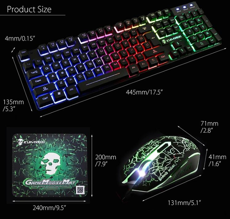 Rainbow Backlight USB keyboard+mouse Set Ergonomic Gaming Keyboard And Mouse Set for PC Laptop gamer