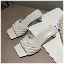 SUOJIALUN/летние женские шлепанцы; Сандалии с квадратным носком; Летние шлепанцы на высоком квадратном каблуке; Женские босоножки без застежки(Китай)
