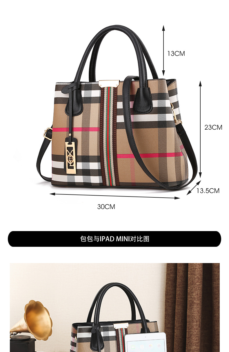New Korean Plaid handbag women's bag fashion fashion one shoulder straddle bag women's bag