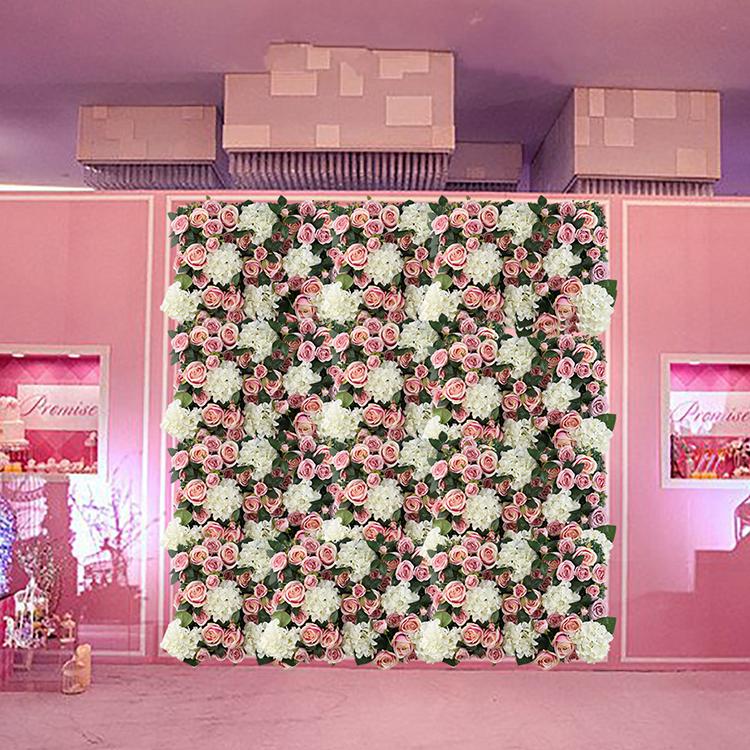 JMFW1003 ประดิษฐ์สีขาวสีชมพู Brizilian Rose ดอกไม้ไฮเดรนเยียกำแพงฉากหลังสำหรับงานแต่งงาน Shopping Mall ตกแต่ง