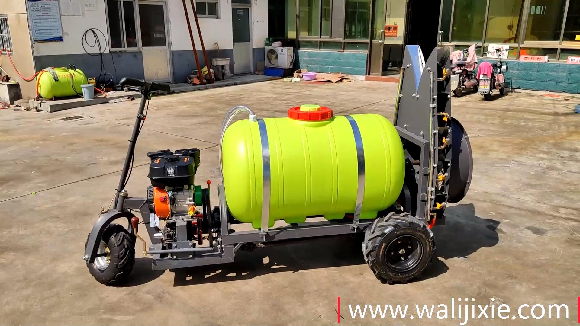 Trois pneus autopropulsé jardin pulvérisateur à jet d'air