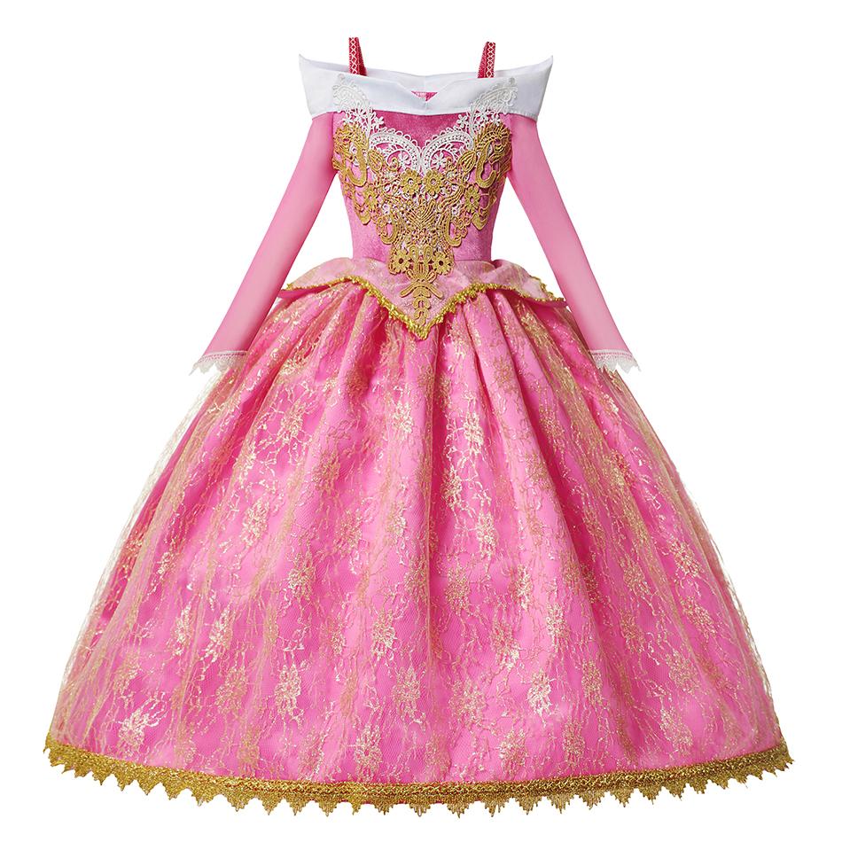 Mädchen Deluxe Aurora Prinzessin Kostüm Langarm Dornröschen Pageant Party Kleid Kinder Fancy Dress Up