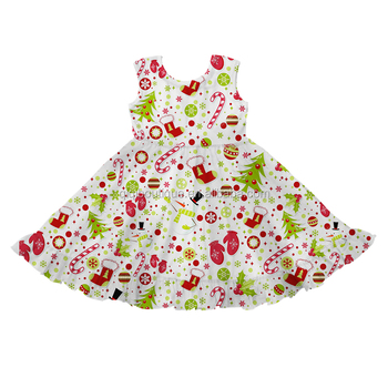 2019 Round Neck Kids Clothes Sleeveless Christmas Themed Pattern Girls Smock Dress New Coming Milk Silk Baby Twirling Frocks