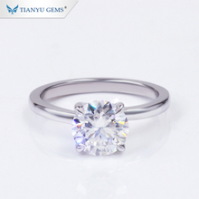 Tianyu Edelsteine 2ct G/H farbe VVS/VS CVD Labor Diamant 14/18K Solid Gold Engagement ringe