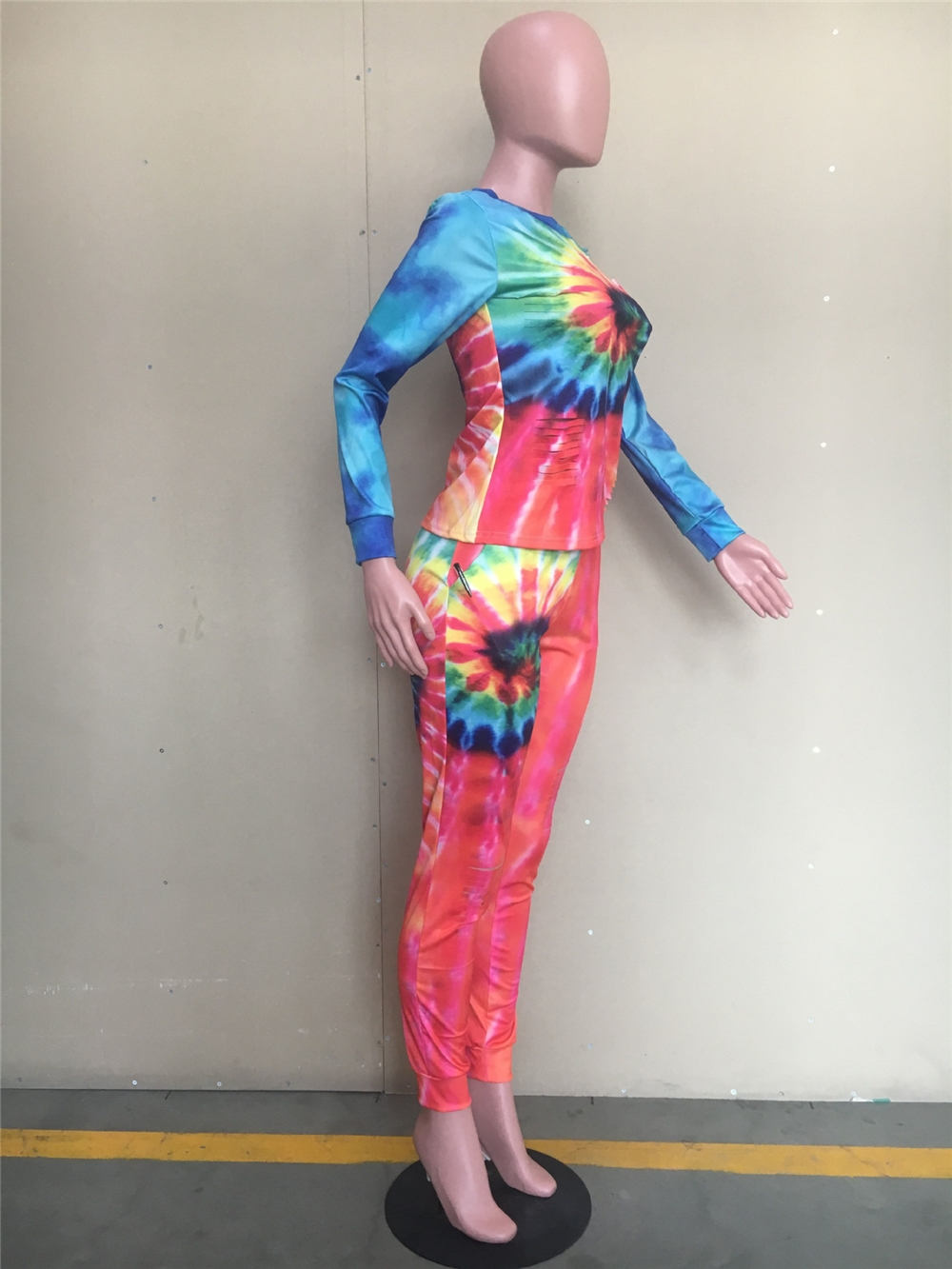 YHY5133 Tie-dye positioning printing casual women clothing sets burning flower 2 piece set women