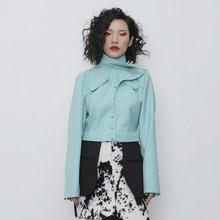 Женский короткий Блейзер EAM, Зеленый свободный пиджак с воротником-стойкой и длинным рукавом, весна-осень 2020, 1R107(Китай)