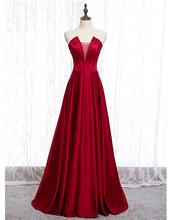 Длинное Элегантное женское платье, Бордовое платье для выпускного вечера, простой сатин, без бретелек, v-образный вырез, ТРАПЕЦИЕВИДНОЕ плат...(Китай)