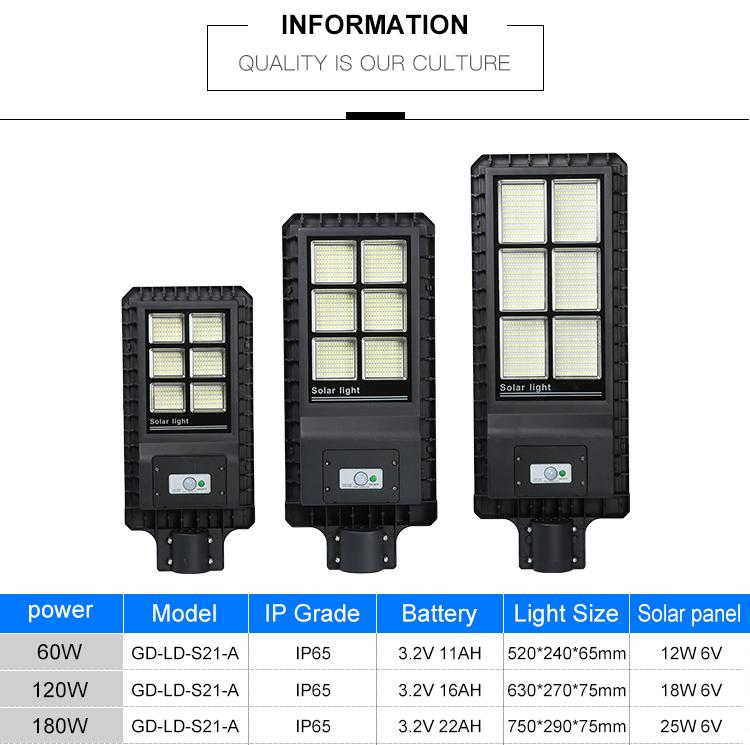 높은 루멘 통합 방수 ip65 야외 60w 120w 180w 올인원 현대 태양 led 가로등