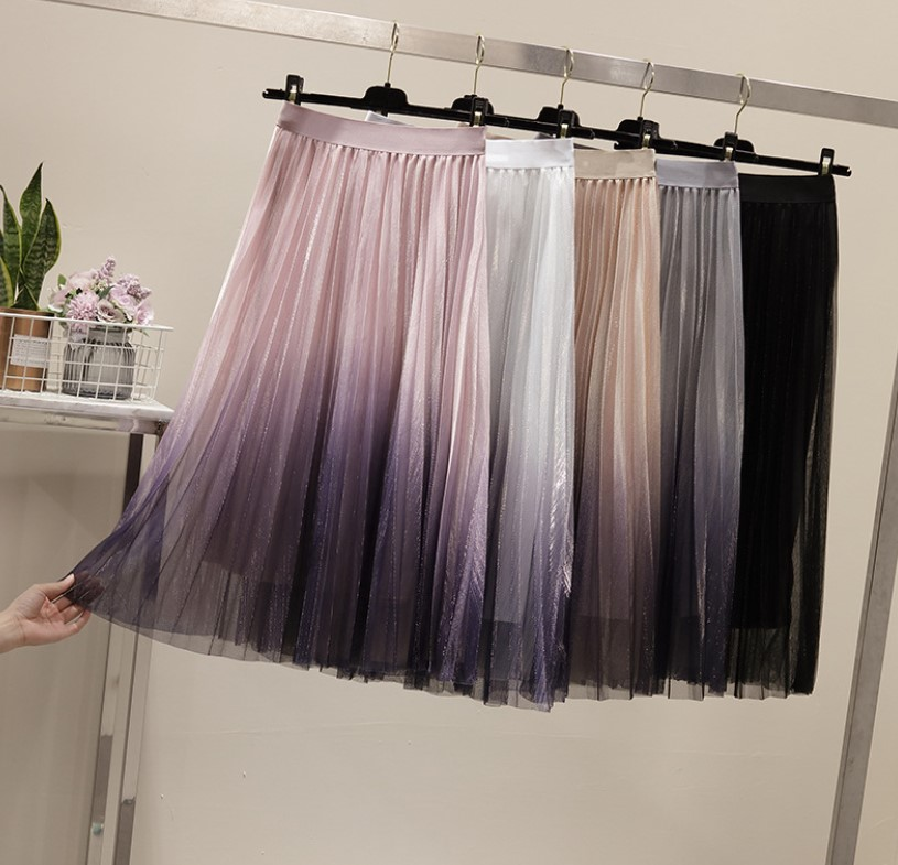 Ladies Long Tulle Skirt Women Summer New Gradient Korean Elegant High Waist A-line Pleated Sun School Midi Skirts Female