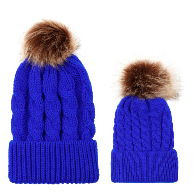 Child Hat Warmer, Mom & Baby  Winter Warm Knit Hat Family Hats*2 pcs Beanies