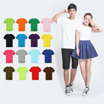 180gsm Cotton Polyester Blend Unisex Men's Cheap O-Neck Short-Sleeve Sports Plain OEM Logo Customize t shirt T-shirts t-shirt