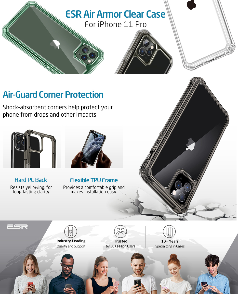 ESR Air Armor Reinforced Drop Protection Case For iPhone 11/11pro/11pro max clear armor phone case