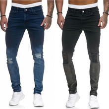 Factory Hot Selling Groothandel Mannen Super Skinny Jeans Mannelijke <span class=keywords><strong>Denim</strong></span> Ripped Broek Jeans Voor Usa