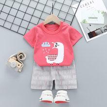 Летняя детская одежда с коротким рукавом, мультяшный костюм, комплекты одежды для маленьких мальчиков и девочек, 2020, Новая корейская детска...(Китай)