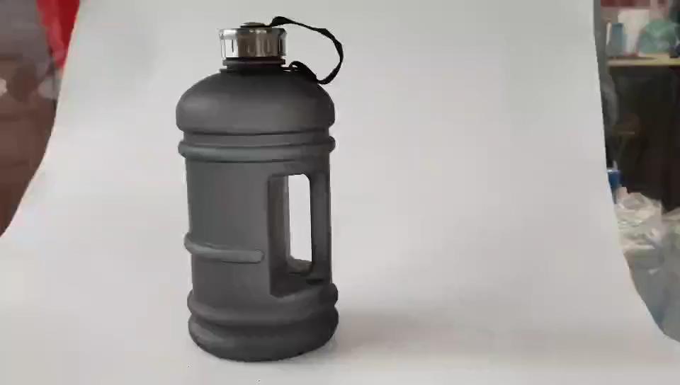 2200 مللي سعة كبيرة زجاجة المياه البلاستيكية السوداء المحمولة أجهزة لياقة خارجية مانعة للتسرب جالون زجاجة ماء