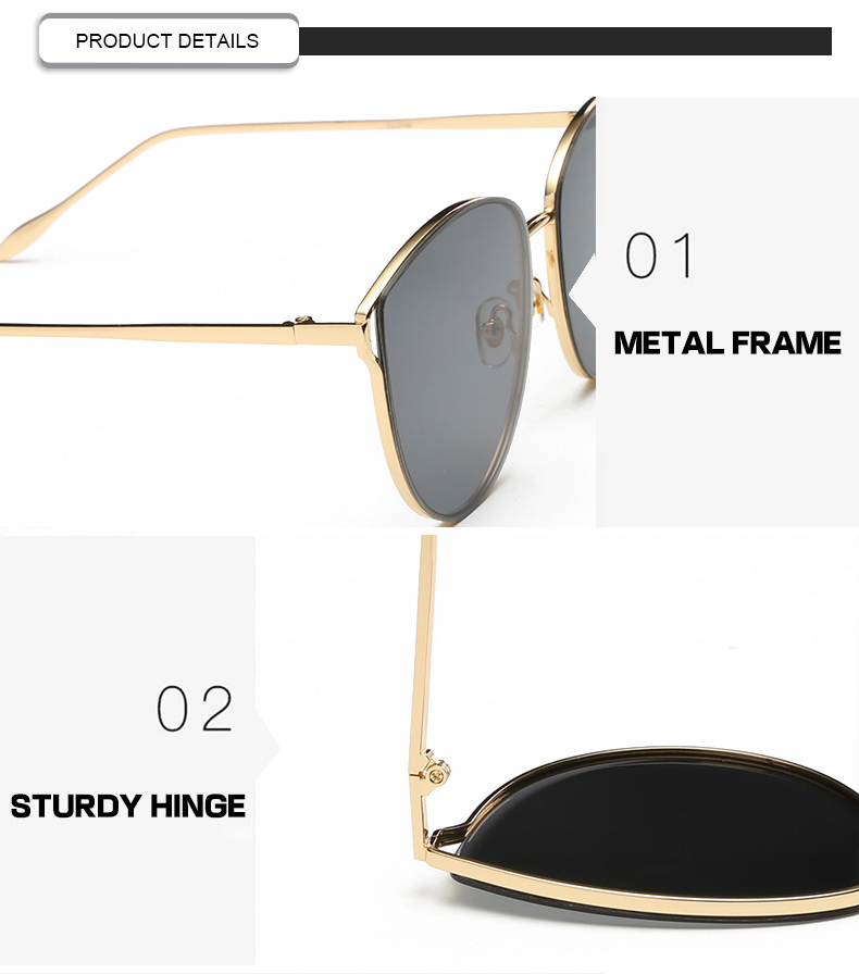 Hot 2019 Vintage Gradient Color Round Metal Frame Women Ladies Eyewear